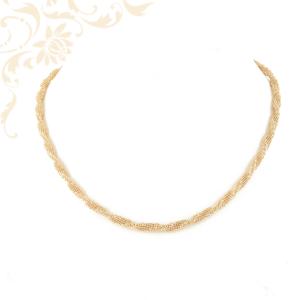 Csipke hatású csavart női arany nyaklánc.