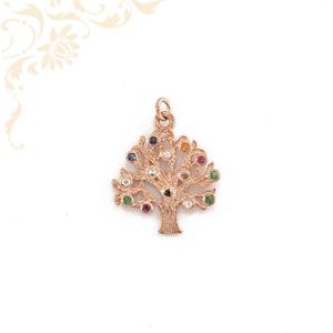 Életfa ezüst medál, színes kövekkel és rozé aranyozással díszítve