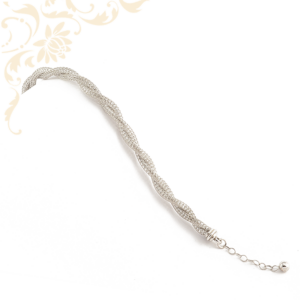 Fonott, csipkemintás női ezüst karkötő