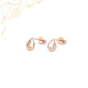 Csepp formájú, csillogó fehér színű cirkónia kövekkel díszített, köves arany fülbevaló