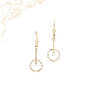 Fehér színű cirkónia kövekkel díszített, női arany lógós fülbevaló