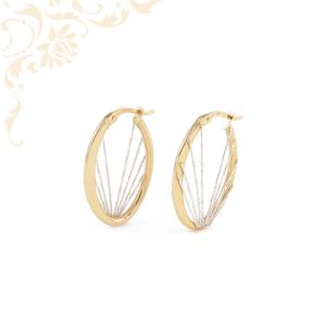 Nagyon szép és elegáns, női arany fülbevaló ródium bevonattal díszítve