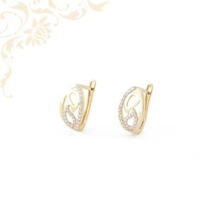 Áttört mintás női köves arany fülbevaló