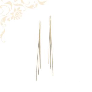 Lapos láncszemekből álló női arany csüngős-lógós fülbevaló