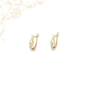 Tulipán formájú, áttör köves arany fülbevaló, fehér színű cirkónia kövekkel ékesítve