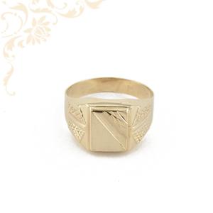 Gyémántvésett mintával díszített, férfi arany pecsétgyűrű