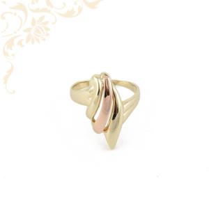 Sárga és rozé arany kombinációjával készült női arany gyűrű