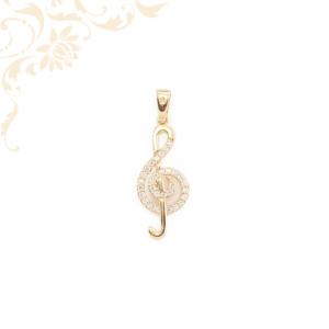 Violinkulcs formájú, fehér színű cirkónia kövekkel díszített köves arany medál