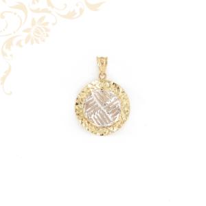 Kör alakú, áttört, gyémántvésett mintával, ródium bevonattal díszített női arany medál