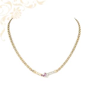 Nagyon elegáns női arany nyaklá rubinokkal  és cirkónia kövekkel ékesítve