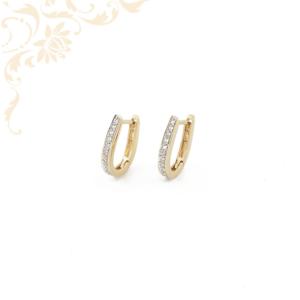 Csillogó fehér színű cirkónia kövekkel, ródium bevonattal díszített női köves arany fülbevaló