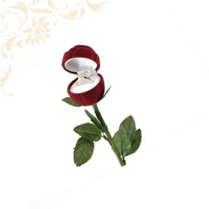 Rózsaszál bordó gyűrűdoboz