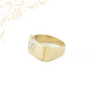 Férfi arany gyémántköves pecsétgyűrű