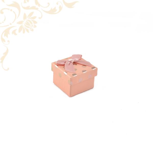 Rózsaszín pöttyös papír ékszerdoboz masnival