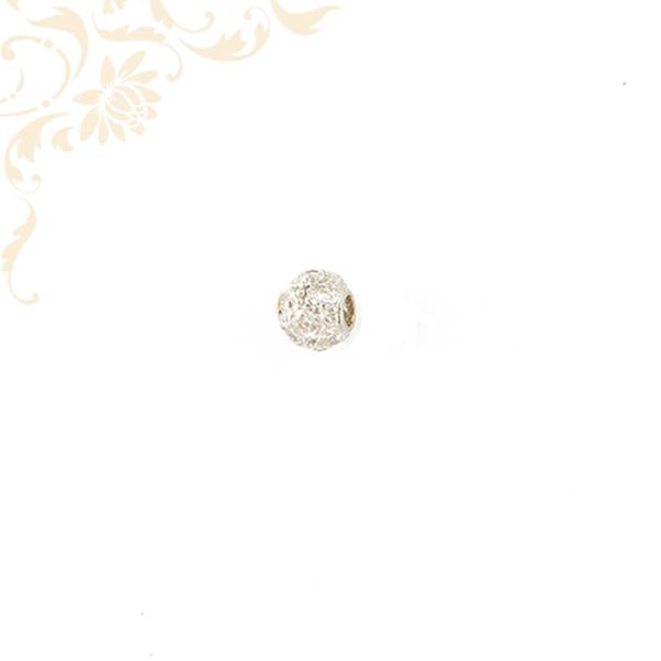 Nagyon szép, domború formájú, köves arany futó medál, sok apró, fehér színű cirkónia kövekkel díszítve