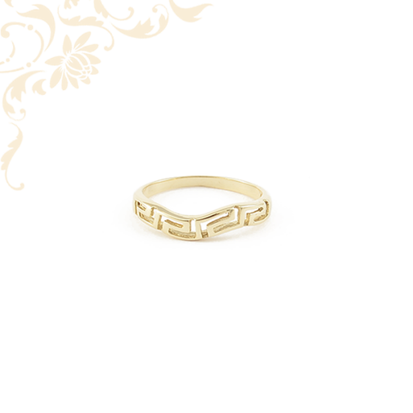 Áttört fejrészű, görög mintás női arany gyűrű.