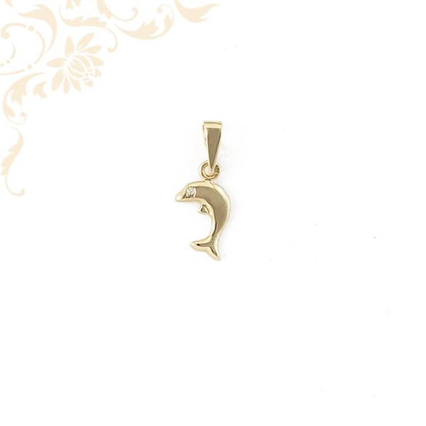 Arany delfin medál cirkónia kővel ékesítve