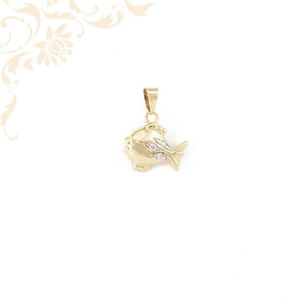 Cirkónia köves arany hal medál