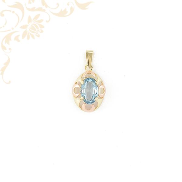 Gyönyörű kék színű szintetikus kővel ékesített női köves arany medá