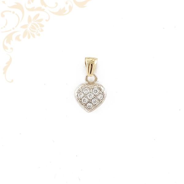 Cirkónia köves szívecskés arany medál