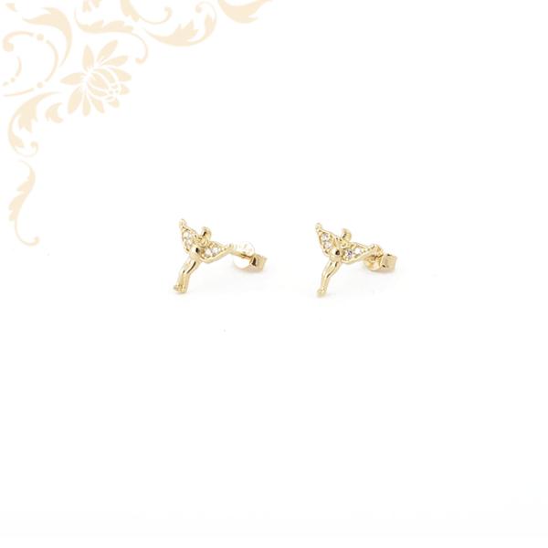 Angyalkát ábrázoló, cirkónia köves arany fülbevaló