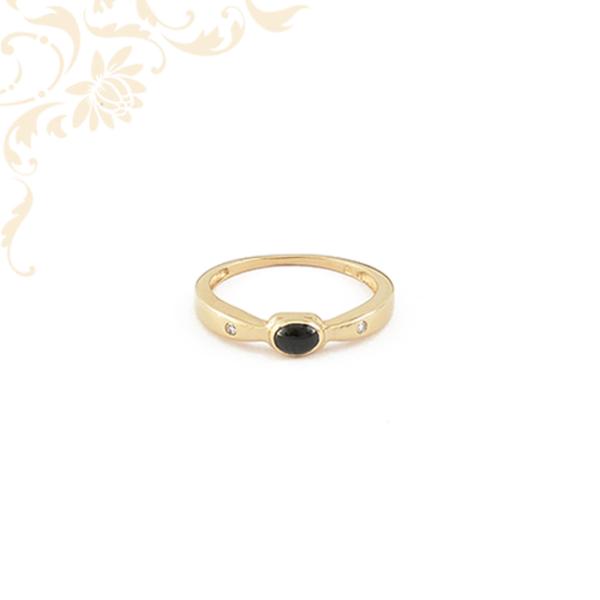 Női arany gyémánt gyűrű turmalin kővel ékesítve