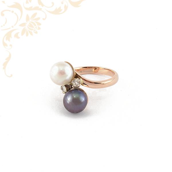 Női arany gyűrű gyémántokkal és gyöngyökkel ékesítve