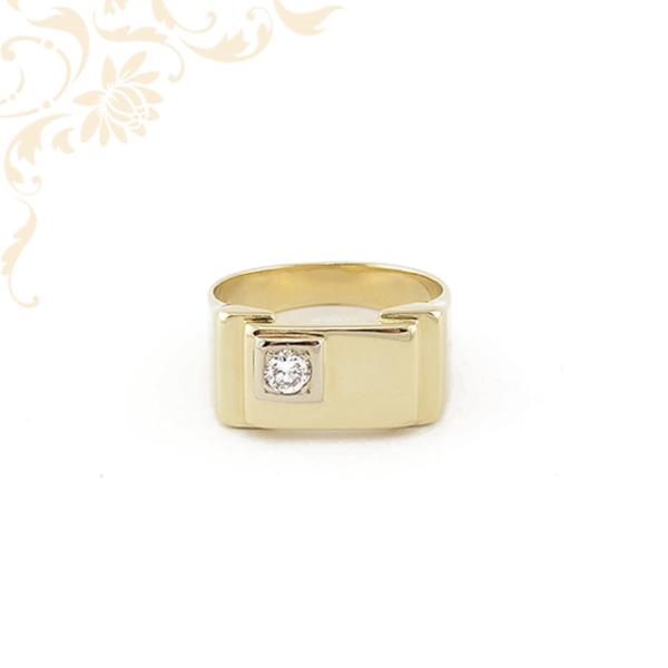 Férfi arany pecsétgyűrű gyémánttal ékesítve