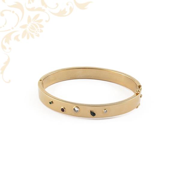Női arany karreif karkötő gyémánttal rubinnal, zafírral és smaragddal ékesítve
