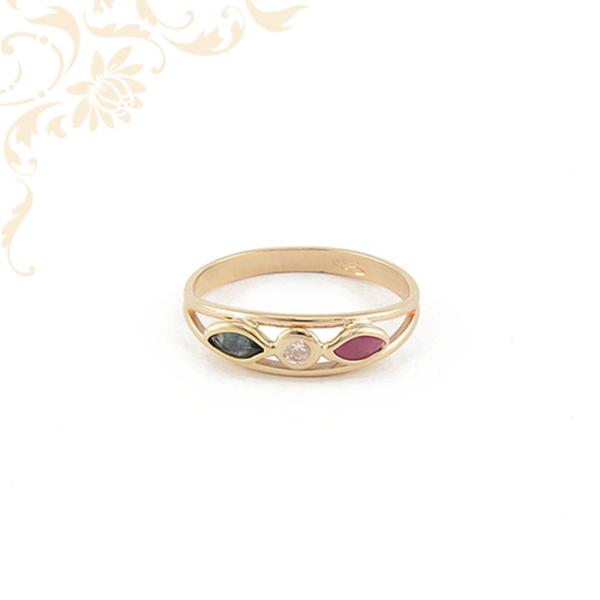 Rubin és zafír köves női arany gyűrű