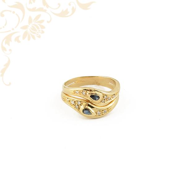 Női arany gyémánt gyűrű zafír kövekkel