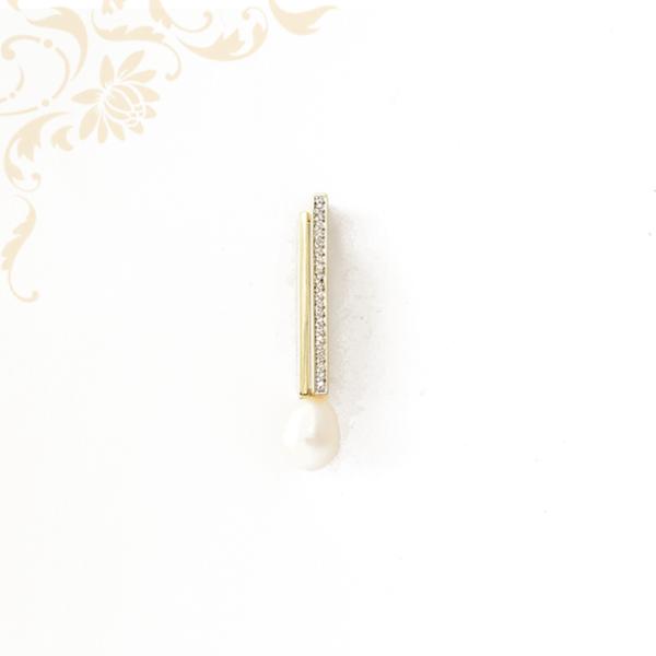 Gyémánttal és édesvízi gyönggyel ékesített női arany medál