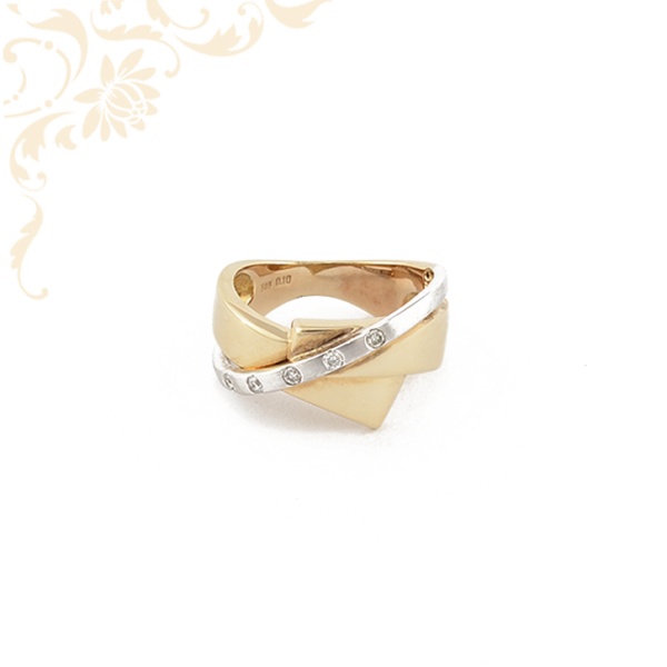 Sárga és fehérarany kombinációjával készült női arany gyémánt gyűrű