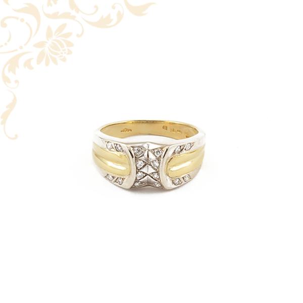 Női arany gyűrű gyémánttokkal ékesítve