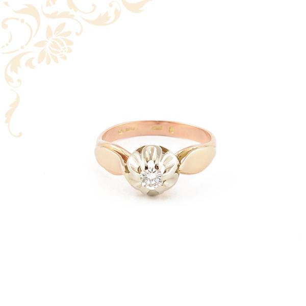 Női arany gyémánt gyűrű vörös és fehéraranyból.