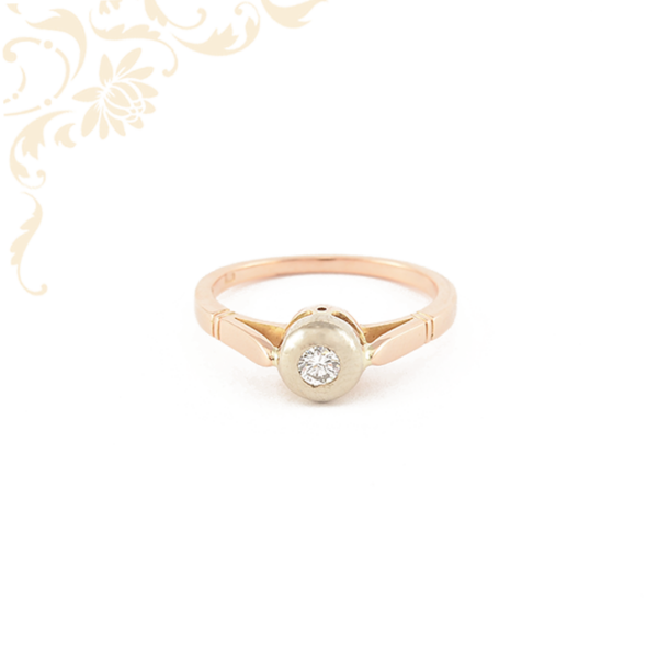 Klasszikus fazonú női arany gyémánt gyűrű