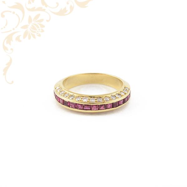 Női arany gyémánt gyűrű rubinnal