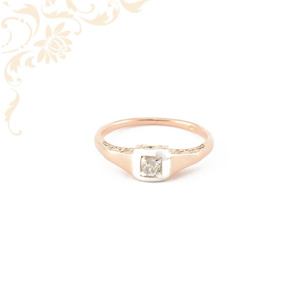 Gyémánttal ékesített női arany gyűrű