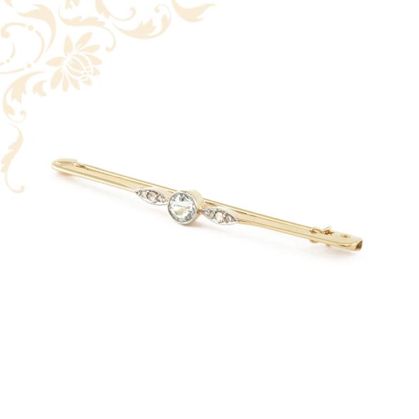 Női gyémánt és akvamarin köves arany kitűző, arany bross