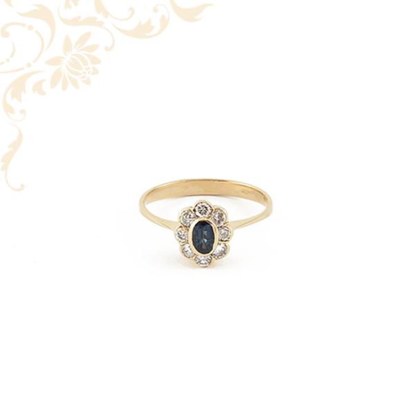 Női arany gyémántköves gyűrű zafír kővel