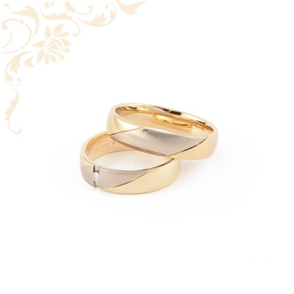 Arany karikagyűrű pár gyémánttal ékesítve