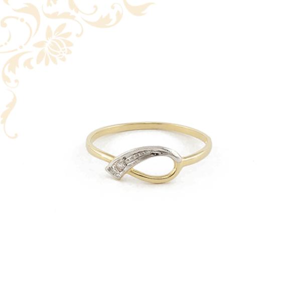 Női arany gyémánt gyűrű ródiumozással díszítve