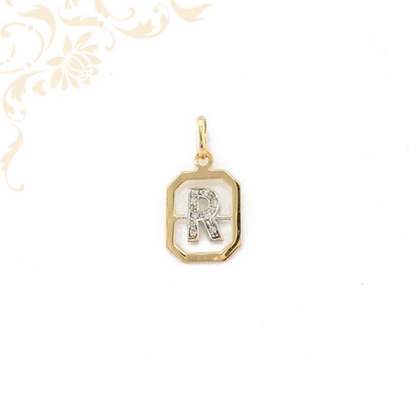 R betűt mintázó női brill köves arany medál