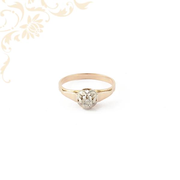 Rozé és fehéraranyból készült női gyémánt gyűrű