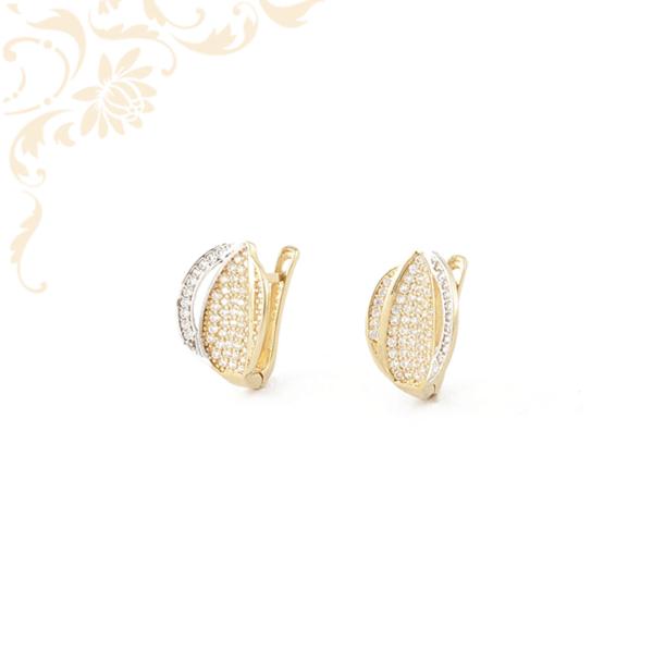Gyönyörűségesen szép, cirkónia köves női arany fülbevaló