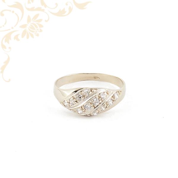 Fehérarany cirkónia köves női arany gyűrű