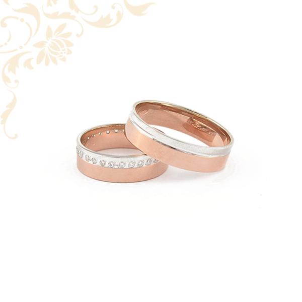 Arany karikagyűrű pár rozé aranyból