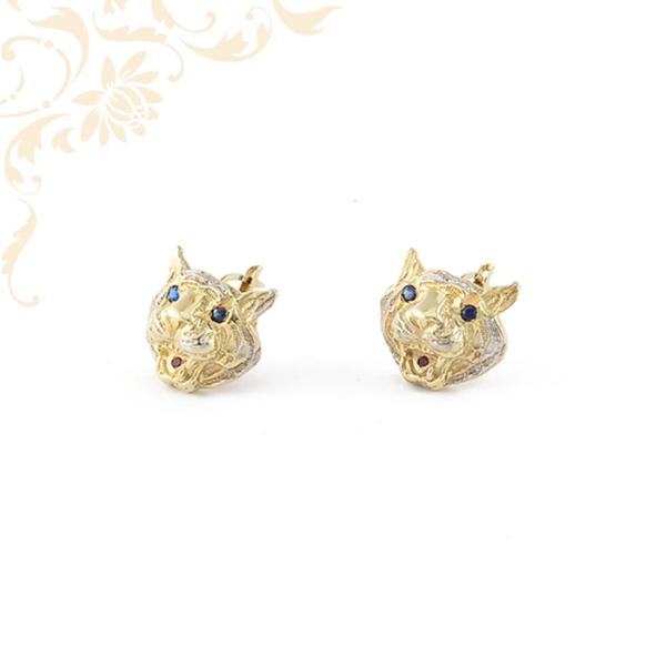 Macskafejet ábrázoló köves arany fülbevaló