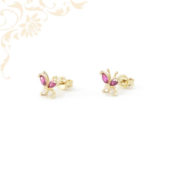 Köves arany pillangó fülbevaló