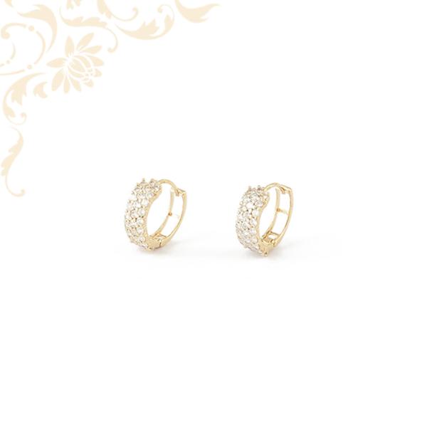 Cirkónia kövekkel ékesített arany karika fülbevaló